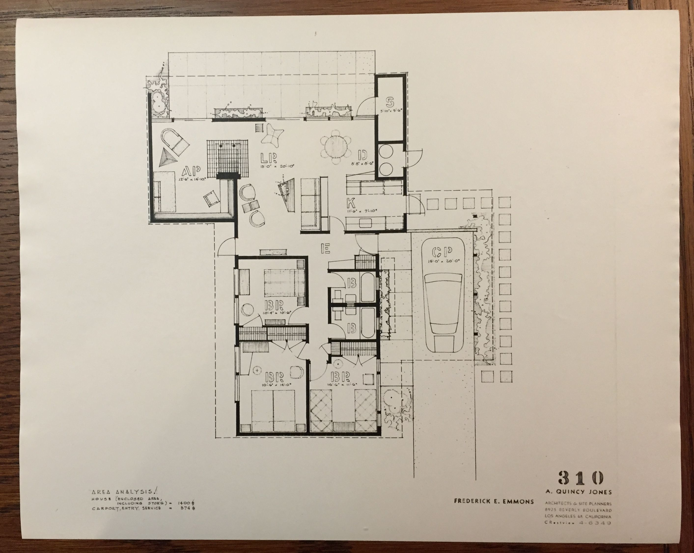 Eichler Homes floor plan 316 (Original at UCLA Library Special ...