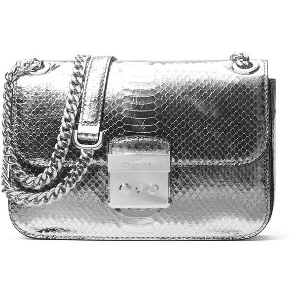5fd241c7411b Michael Michael Kors Sloan Editor Medium Snake-Embossed Shoulder Bag (11  020 UAH)   liked on Polyvore featuring bags