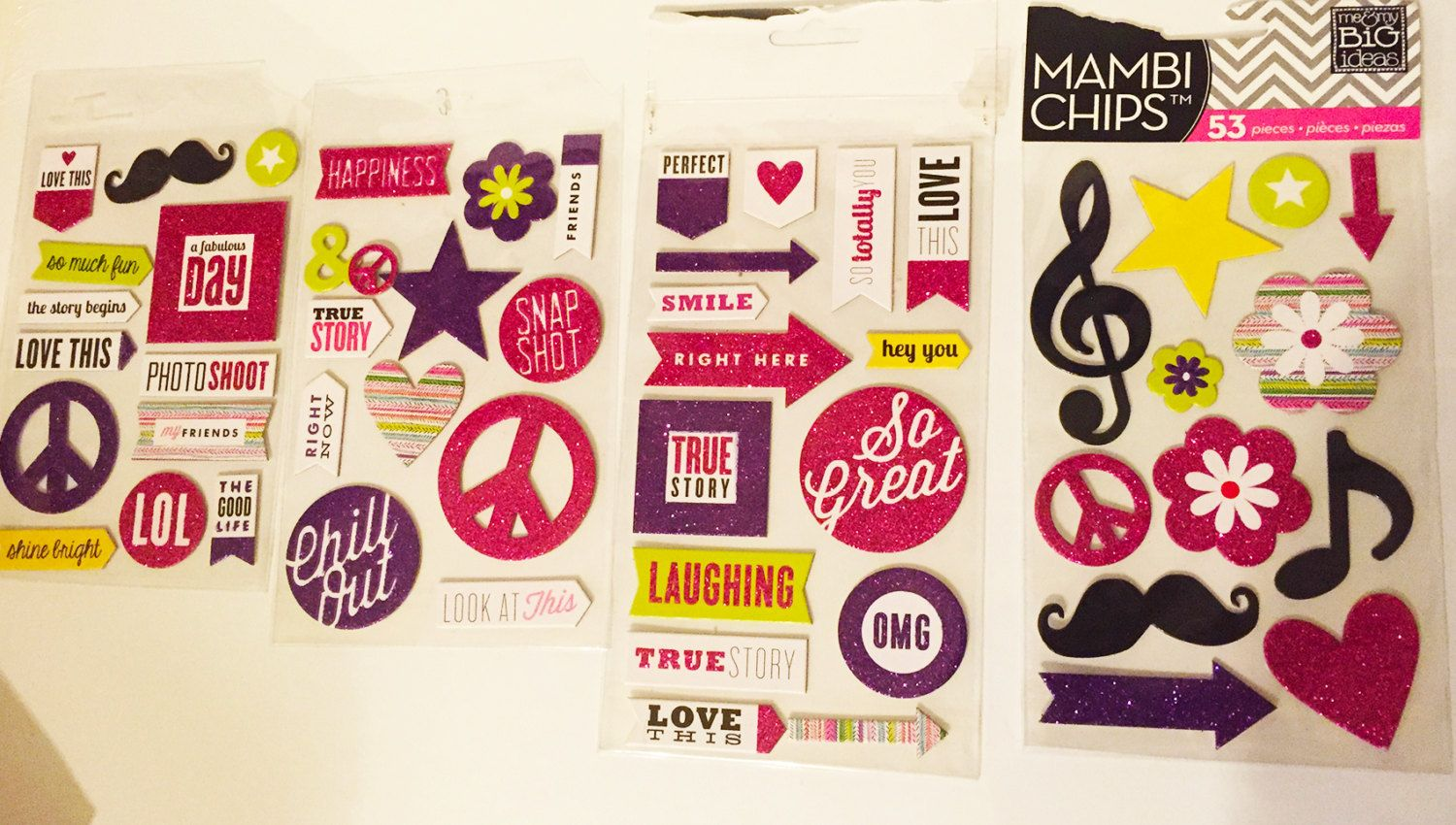 Mambi Chips Scrabook Stickers Premium Stickers 4 pages-53 stickers-scrapbook page ideas, scrapbook ideas, by sweetpeacejewelry on Etsy