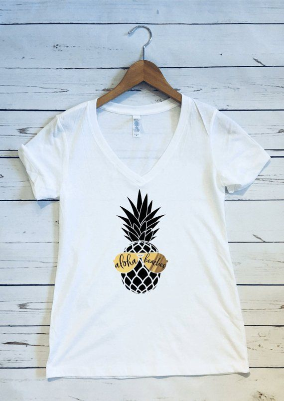 76a4e7f3c Aloha Beaches, Women's V Neck T Shirt, Aloha Beaches Shirt, Pineapple Shirt,  Summer Beach Shirt Chil