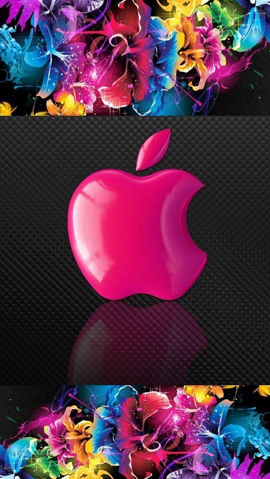 Pink apple logo Apple logo wallpaper iphone