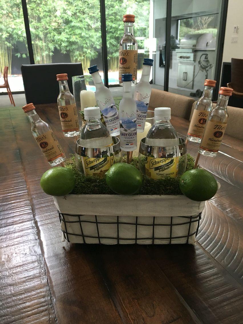 A little vodka tonic basket I whipped up. Vodka gift