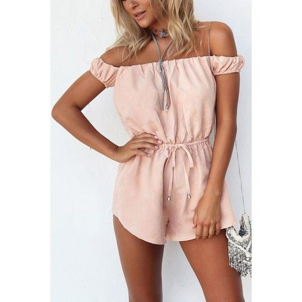 Yoins Pink Drawstring Waist Strapless Open Back Playsuit (£10) ❤ liked on Polyvore featuring jumpsuits, rompers, jumpsuits & rompers, pink, playsuit jumpsuit, pink rompers, strapless rompers, pink jumpsuit and vintage jumpsuit