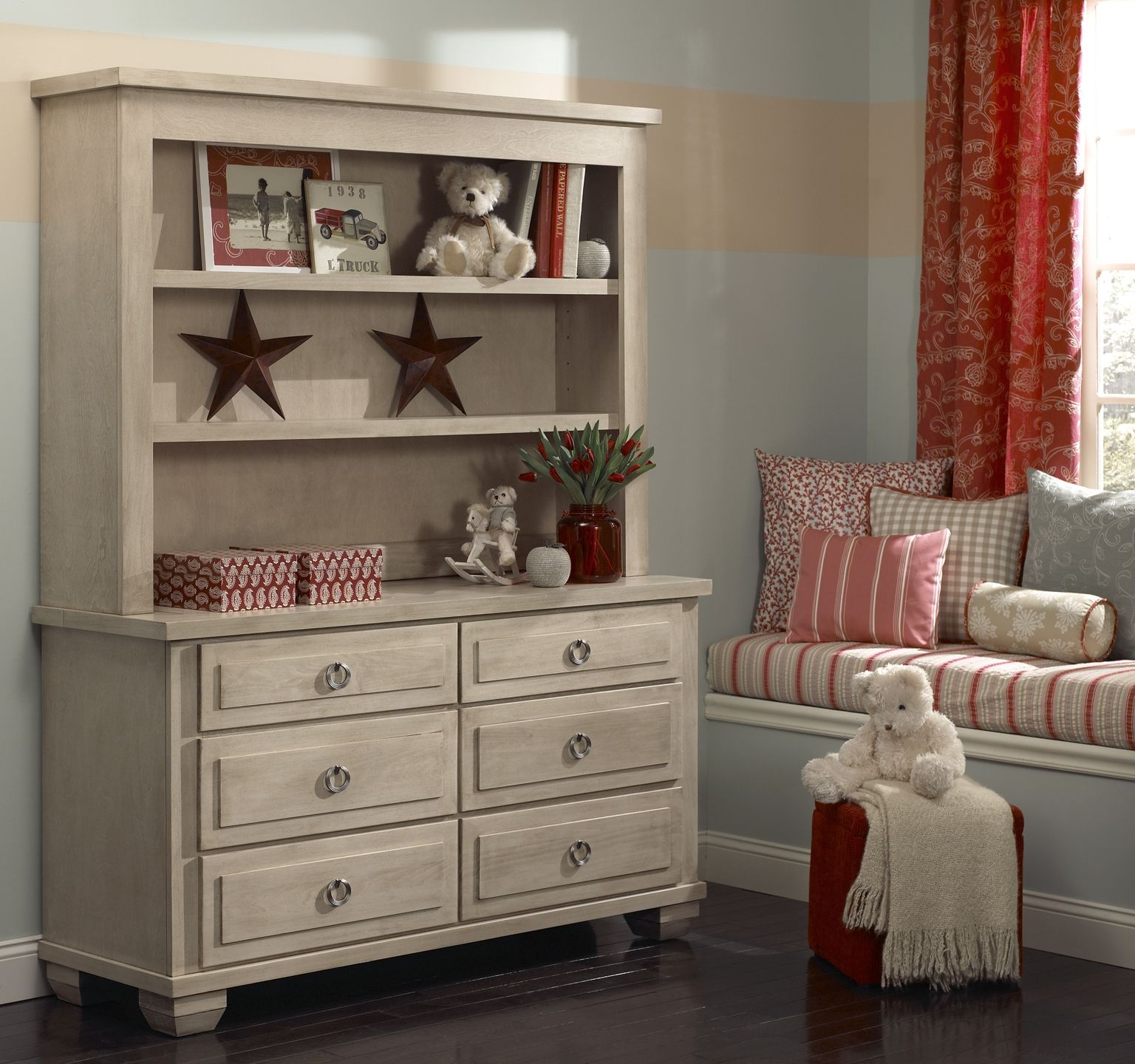 Kids Furniture · Made In America: Double Dresser With Hutch In Driftwood