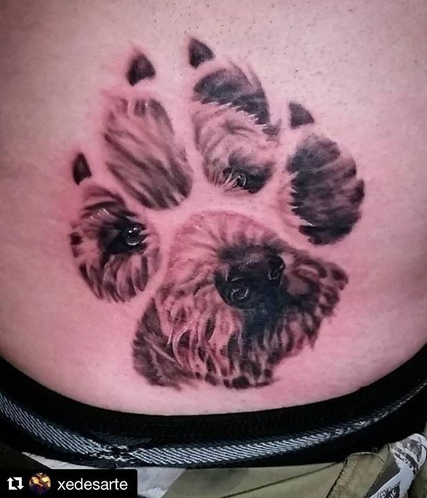 Doggy Tattoo By Xedesarte From Dv8 Tattoos And Body Piercing Roseville 20170707 Pawprint Tattoo Print Tattoos Foot Tattoos
