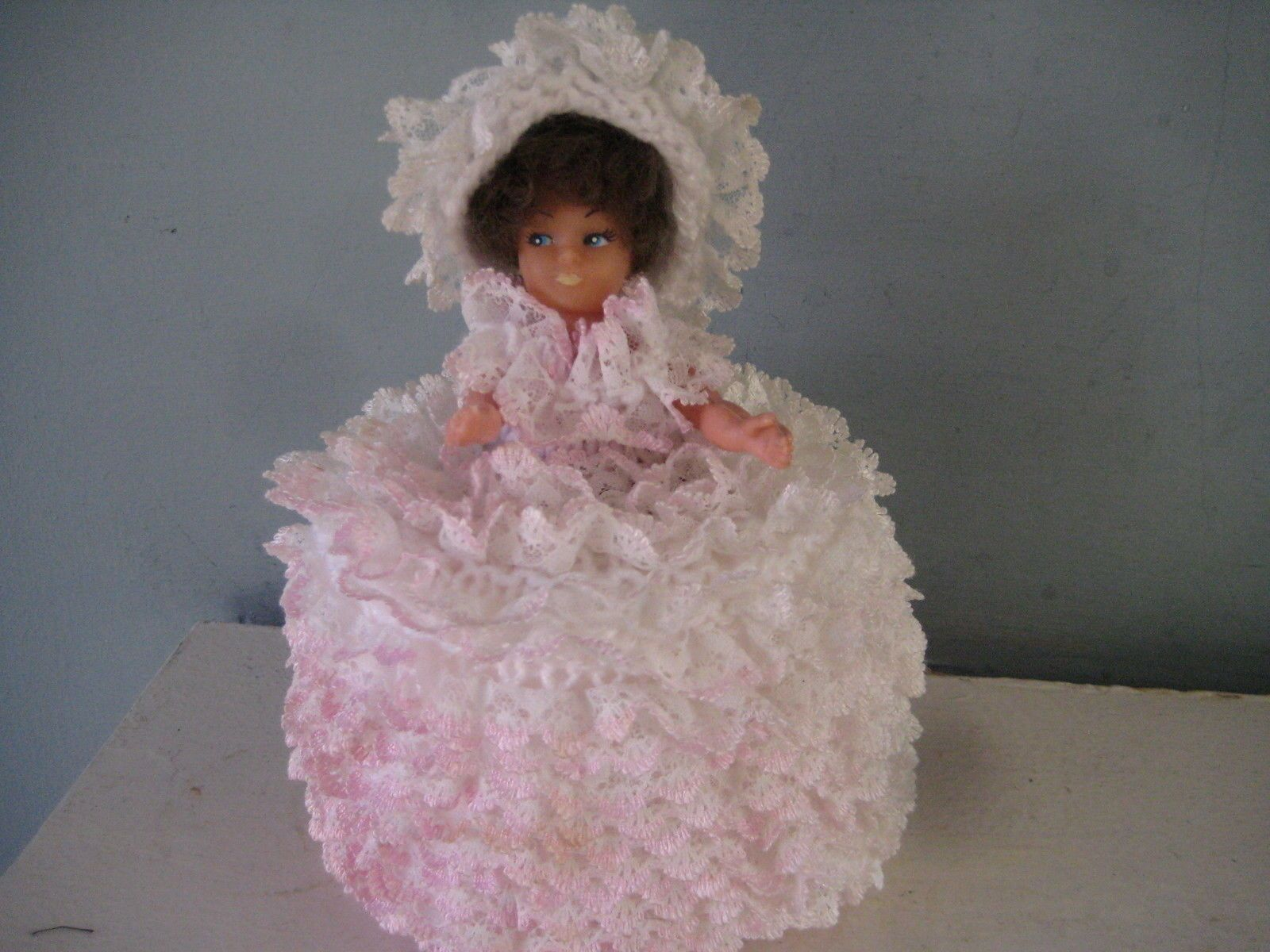 Hand Knitted White Pinks Lace Edge Wool Vintage Doll