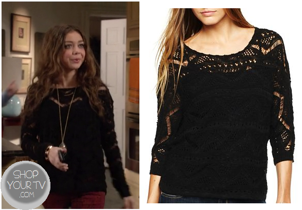 Modern Family: Season 4 Episode 10 Haley Dunphy's Black Lace Sweater | Shop Your TV