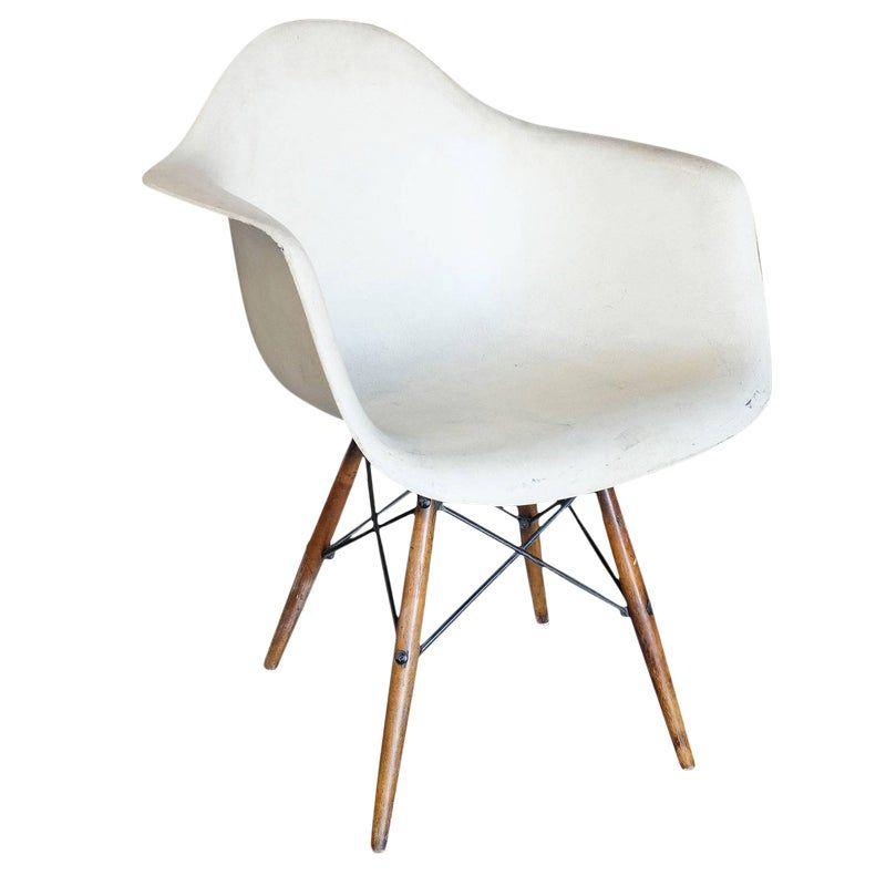 Eames Daw Fiberglass Armchair W/ Dowel Base for Herman