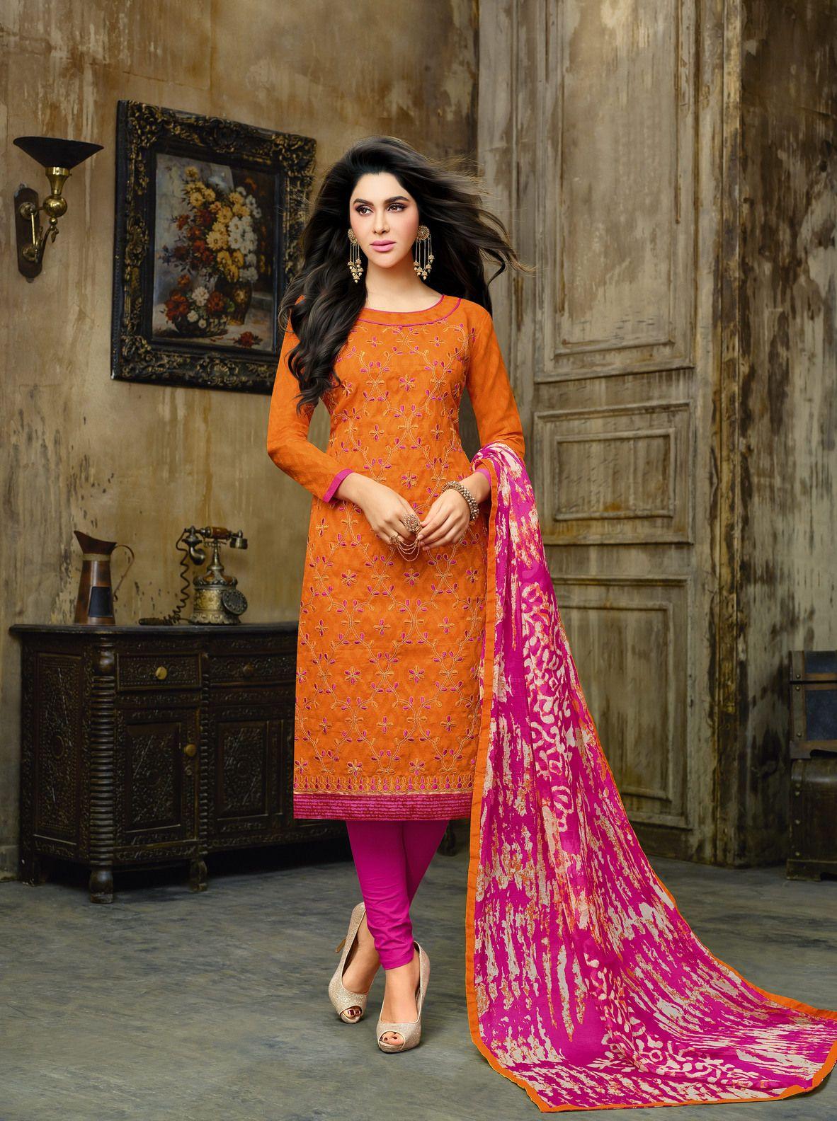 Buy Craftsvilla Orange Embroidered Cotton Jacquard Party Wear