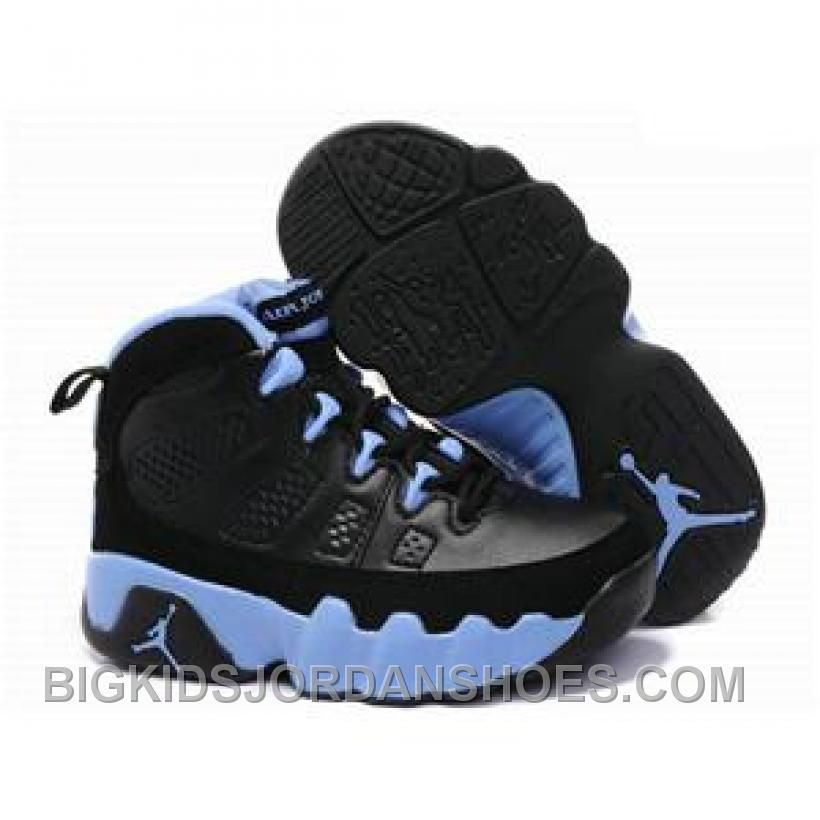555352e5009ee9 New Arrival Kids Air Jordan 9 Black Blue in 2019