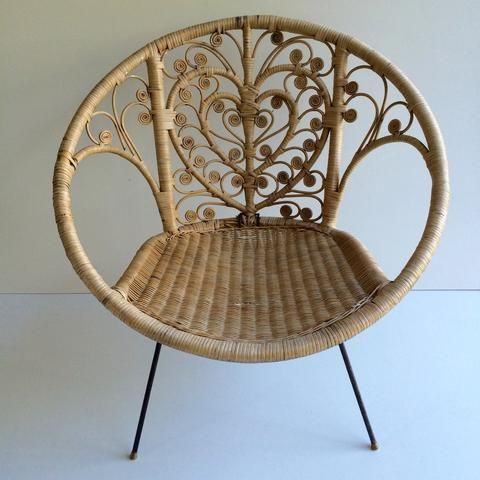 vintage peacock wicker rattan chair fauteuil en rotin vintage boheme volutes free delivery. Black Bedroom Furniture Sets. Home Design Ideas