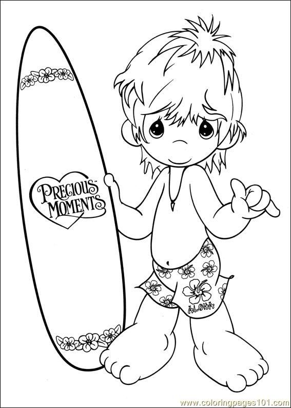 Precious Moments Coloring Page S Surfer Boy Precious Moments