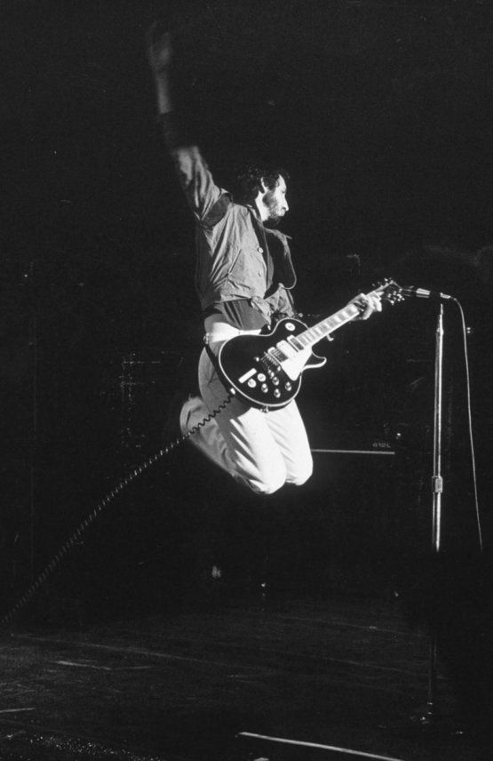 Pete Townshend leaps (1978)   The airborne wind mill, invented and perfected. Genius.