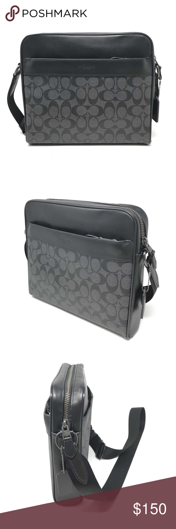 a45c374adbc3f Coach Men s Charles Camera Bag in Signature PVC Coach F28456 Men s Charles  Camera Bag in Signature PVC Charcoal Black Item  273627887732 100%  Authentic ...