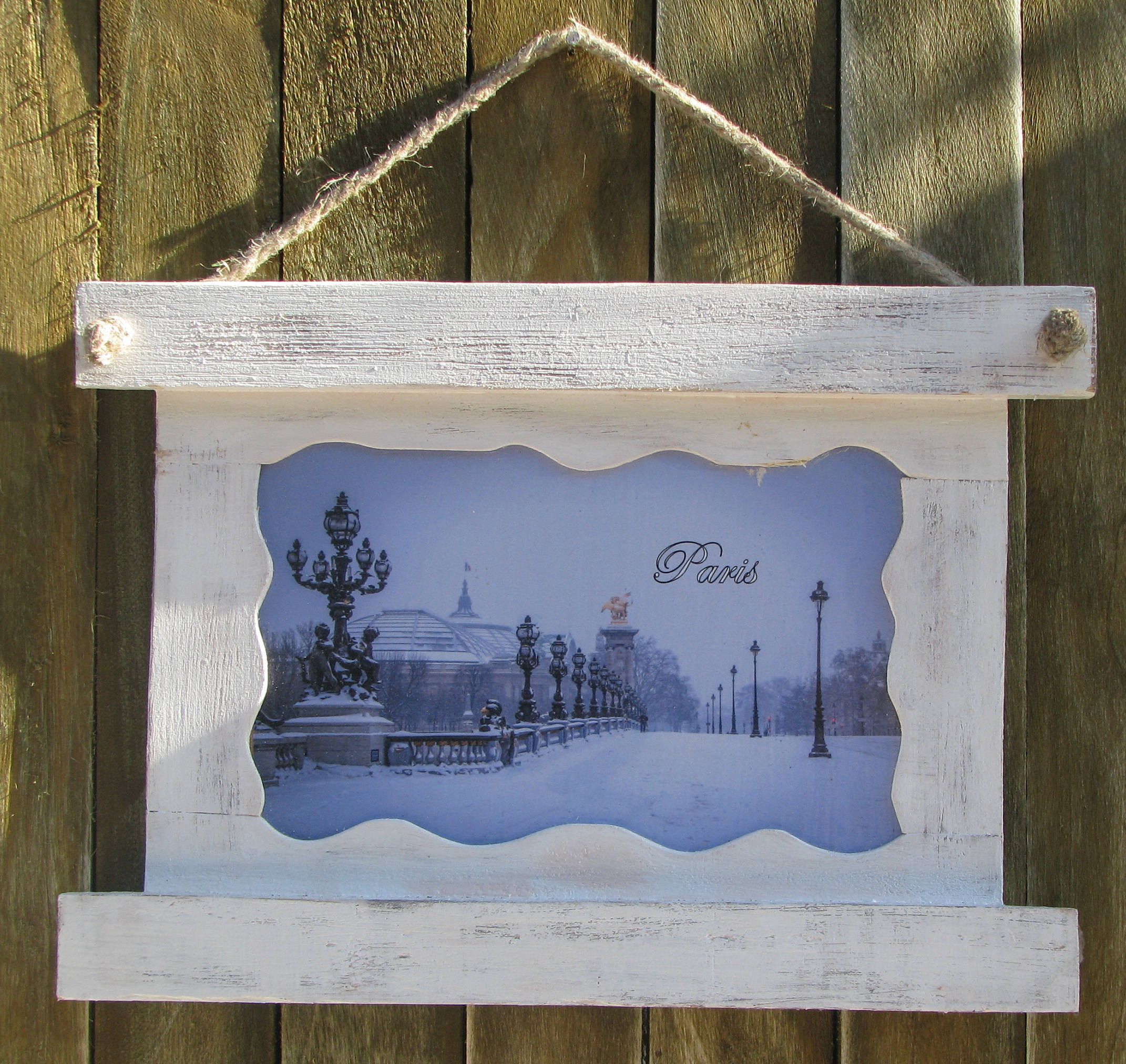 Paris Photo With Frame, Rustic photo frame, Washed wood, Vintage ...