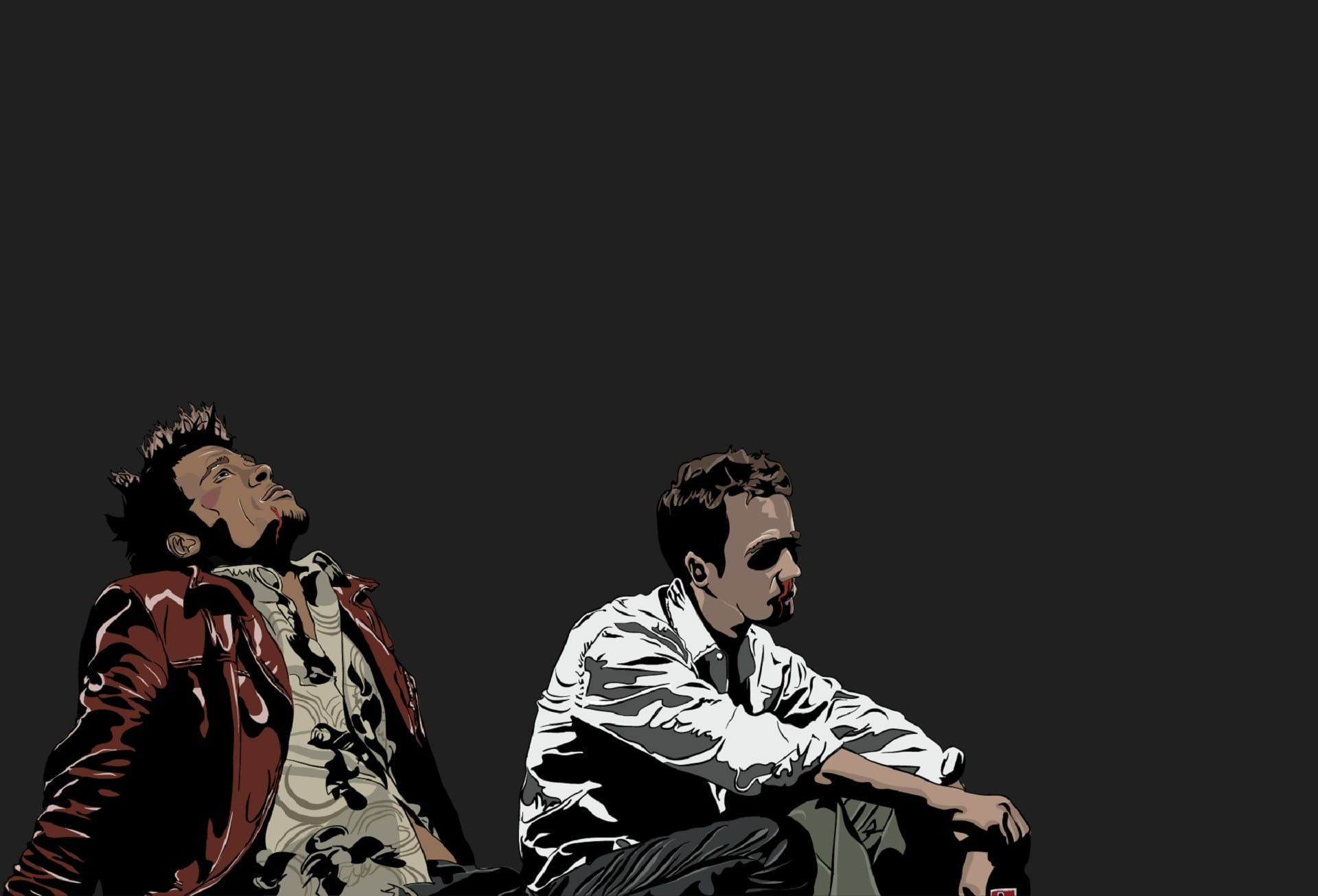 Two Men Sitting Vector Art Fight Club Movies Vector 1080p Wallpaper Hdwallpaper Desktop Fight Club Poster Fight Club Fight Club 1999 Fight club desktop wallpaper hd