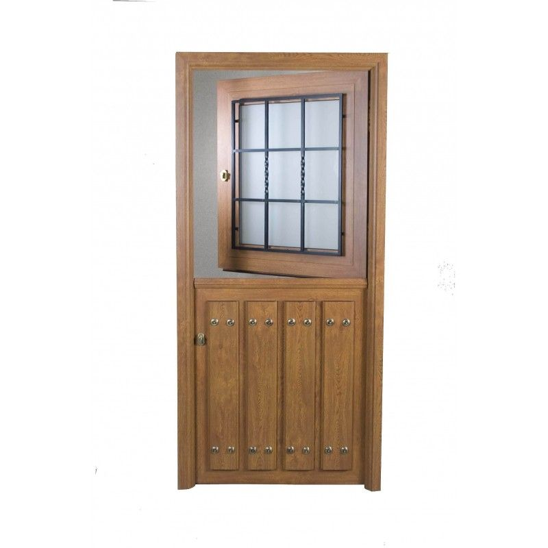 Puerta rustica partida con ventana for Puertas rusticas exterior