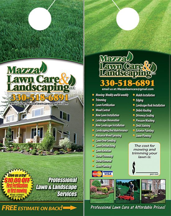 Lawn Care And Landscaping Door Hangers  Lawn Care Landscaping Door