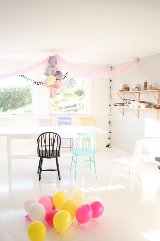 Pastel lanterns and bright balloons