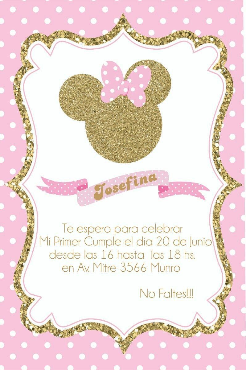Mi Primer Añito Invitación De Minnie Mouse Invitaciones