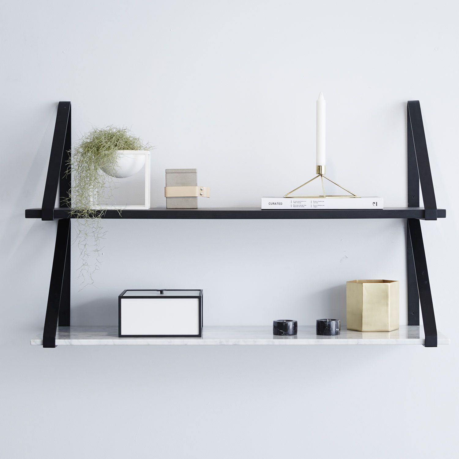 Modern Designer Marble Floating Wall Shelf Carrara Marble Black Metal Interior Interiors Addict Designer Homewares