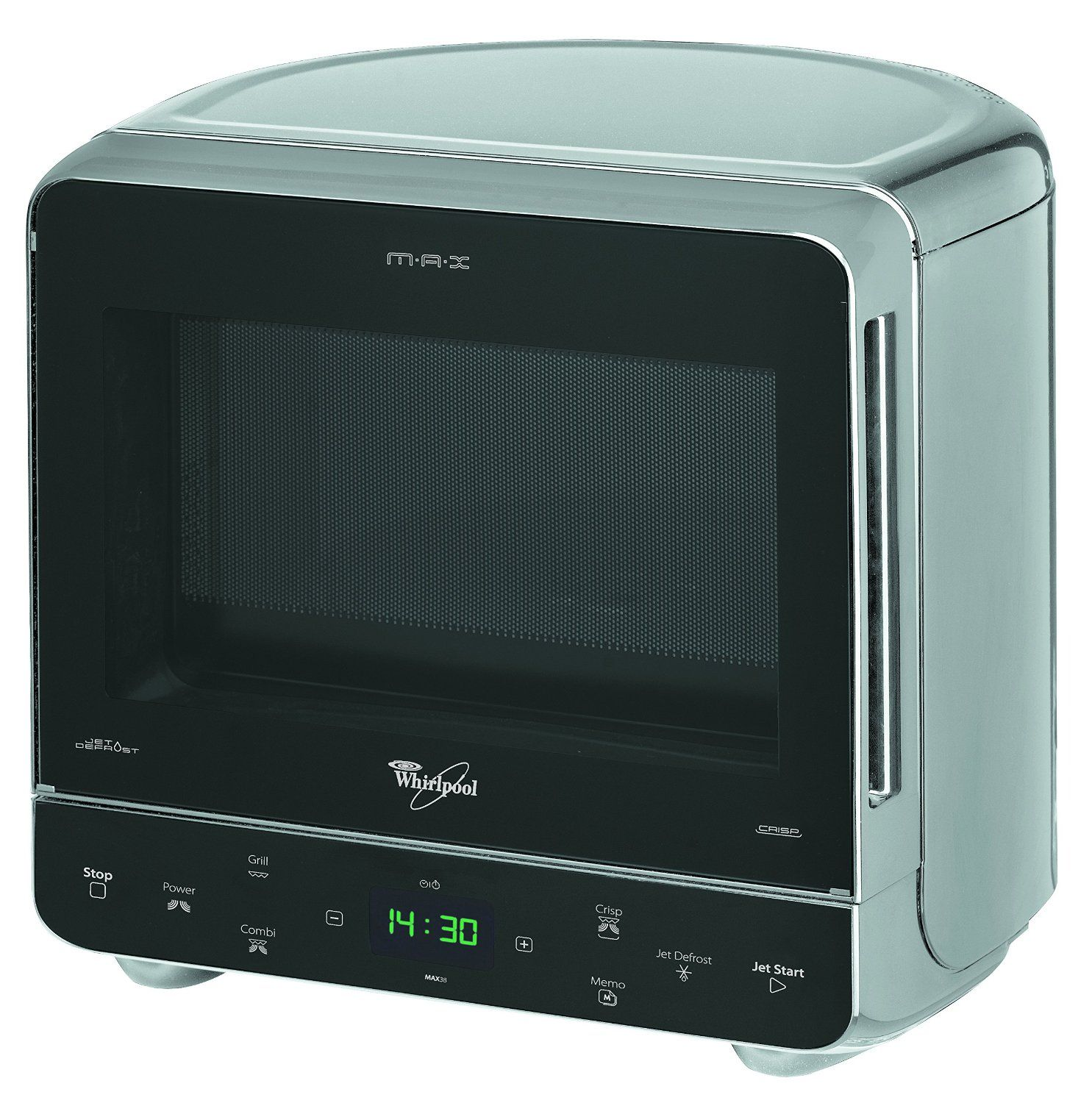 Whirlpool Max 38 Sl Corner Microwave Oven With Grill In Silver Curved Back