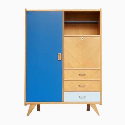 Eichenholz Kleiderschrank mit grauen  blauen Modulen und Kompass - schlafzimmerschrank weiß hochglanz