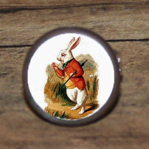 WHITE RABBIT Wonderland Alice tie tack or ring or by AlteredEtc, $13.00