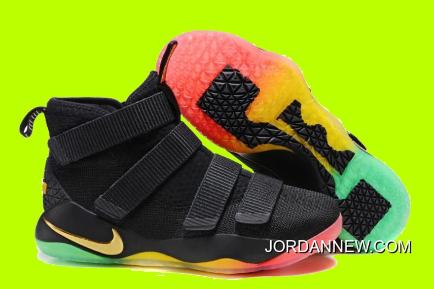 Cheap Nike LeBron Soldier 11 Black Gold Rainbow Basketball Shoes For Sale,Nike  LeBron OnSale!
