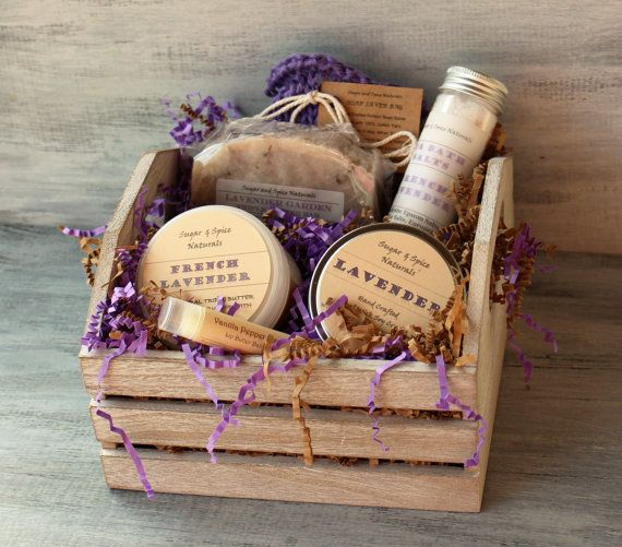 Lavender Soap Spa Bath Body Gift Basket With Soap French
