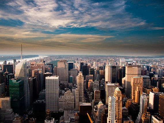 View of the New York City skyline at Sunset.