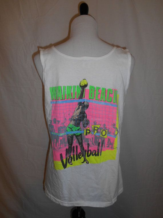 Vintage t shirt tee 80s 90s 1989 Neon    by ATELIERVINTAGESHOP