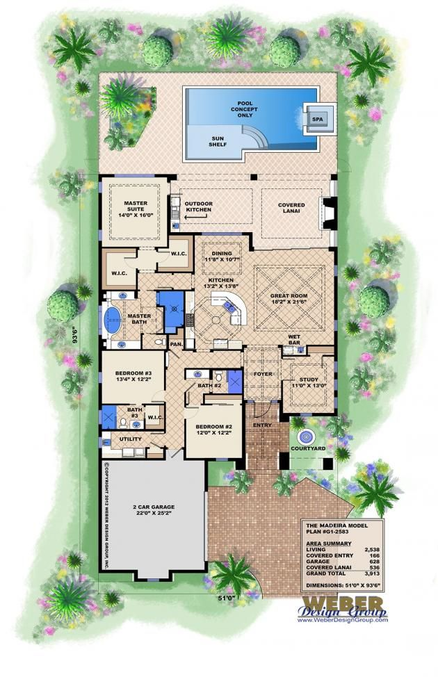Spanish style floor plan 3913 s f single level 3x3 this for Spanish bungalow house plans