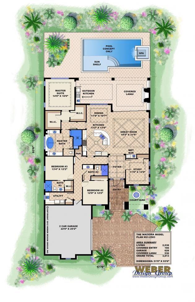 Spanish House Plan 1 Story Coastal Spanish Style Home Floor Plan Narrow Lot House Plans Florida House Plans Mediterranean House Plans