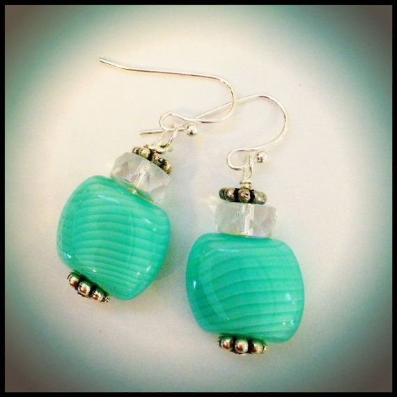 Mint green dangle earrings - Love these. <3 Sold on etsy by beautyandthebeadsXO.etsy.com