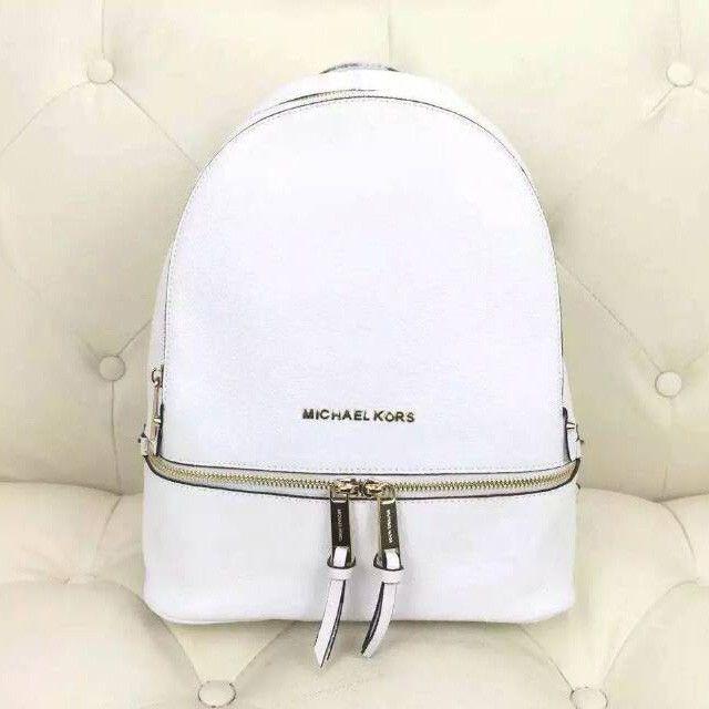 40bf19929747 MICHAEL Michael Kors Rhea Small Leather Backpack White