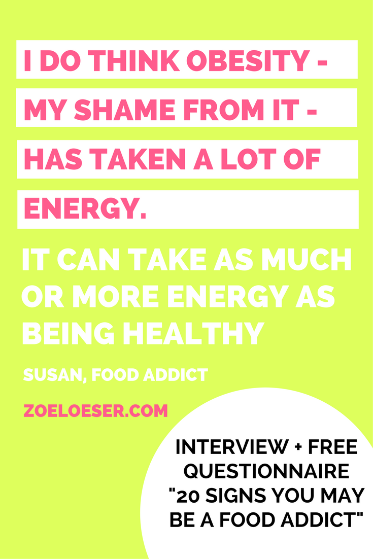 a food addict talking about food addiction. free questionnaire 20