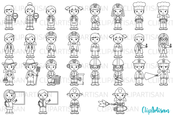 39+ Community helpers clipart black and white info
