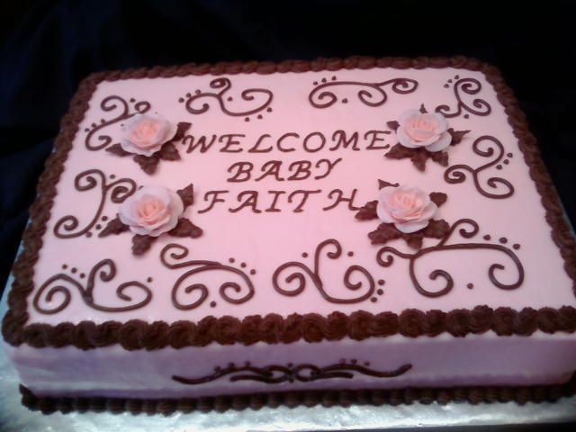 Pink And Brown Baby Shower Sheet Cake   This Is A Baby Shower Cake For A