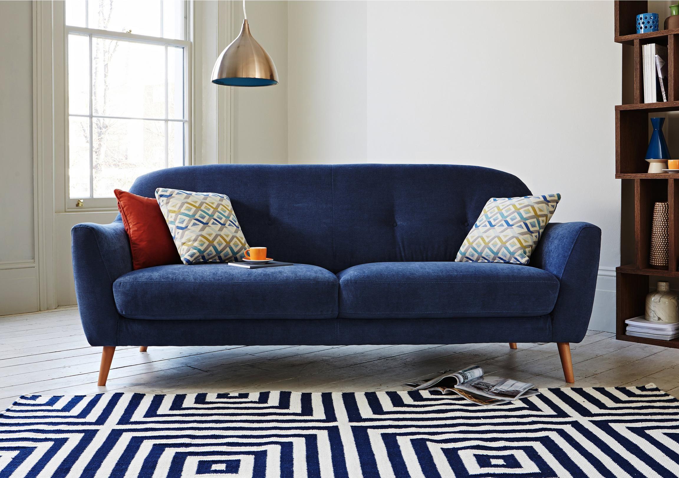 Kurve 3 Seater Fabric Sofa Simple Sofa Sofa Scandinavian Sofas