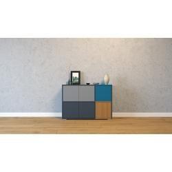 Photo of Wohnwand Anthrazit – Individuelle Designer-Regalwand: Türen in Grau – Hochwertige Materialien – 116