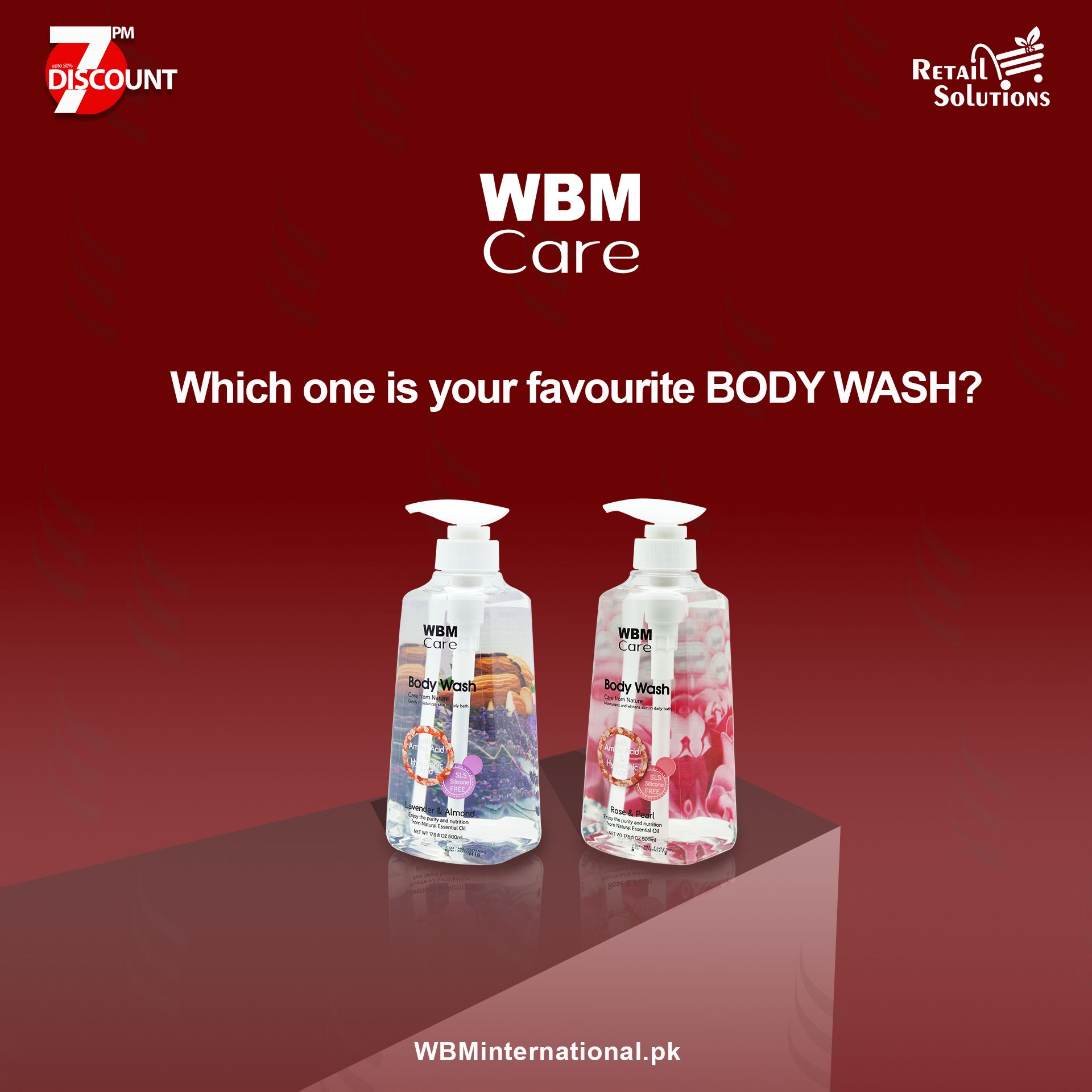 Lavender&Almond 👉Rose&Pearl WBM CARE Body Wash is