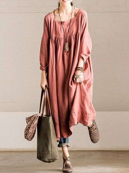 2f6e5f42b28b6 Shop Linen Dresses - Long Sleeve Shift Square Neck Casual Linen Dress  online. Discover unique designers fashion at StyleWe.com.