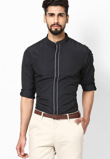 0015146c9f3 Add variety to your wardrobe with this black coloured club wear shirt from Wills  Lifestyle.