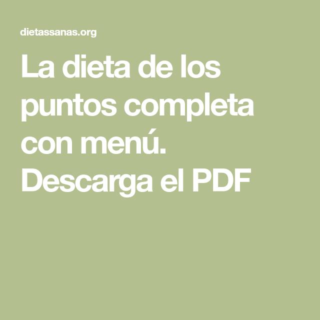 Menu dieta de los puntos pdf