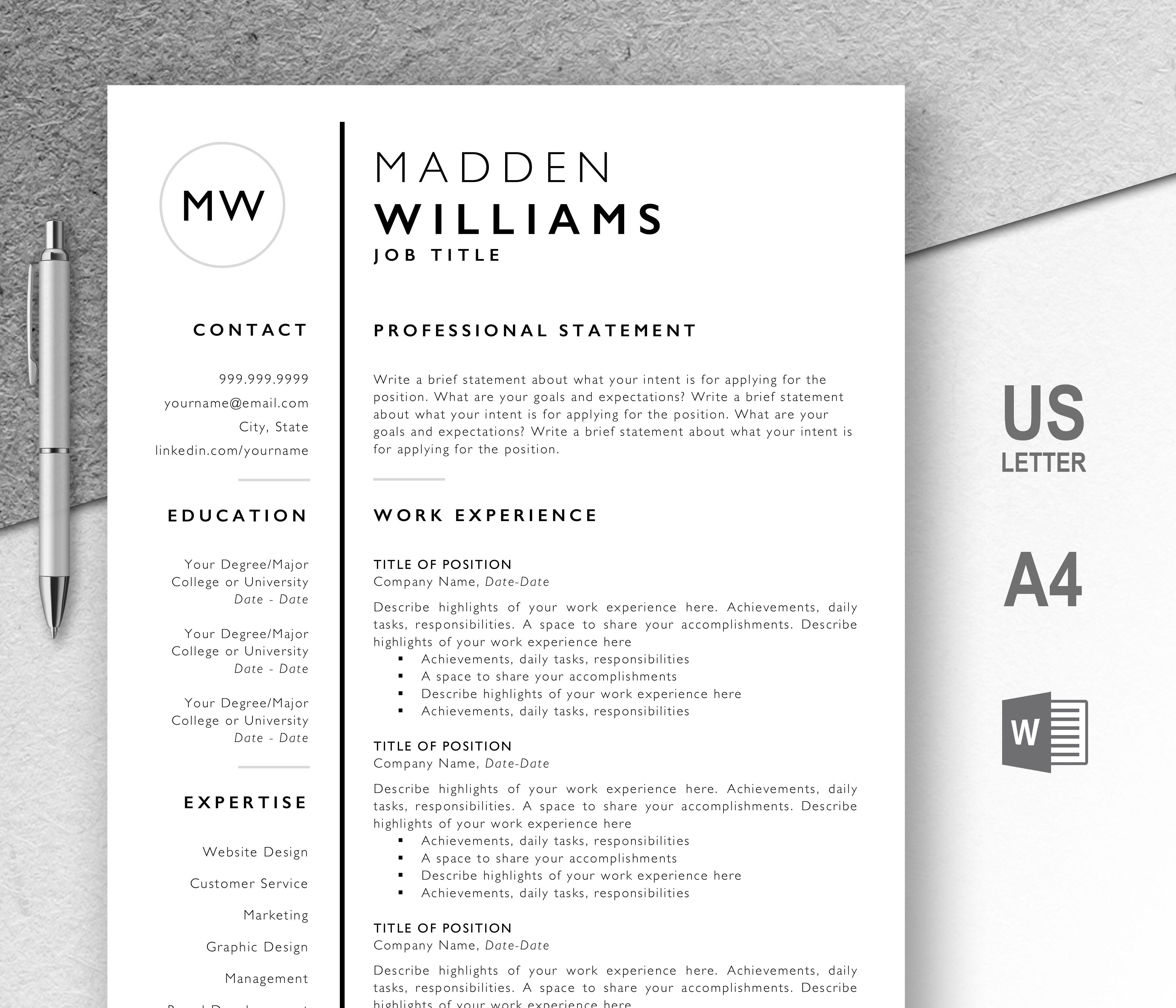 Professional Resume Templates Editable in Microsoft Word