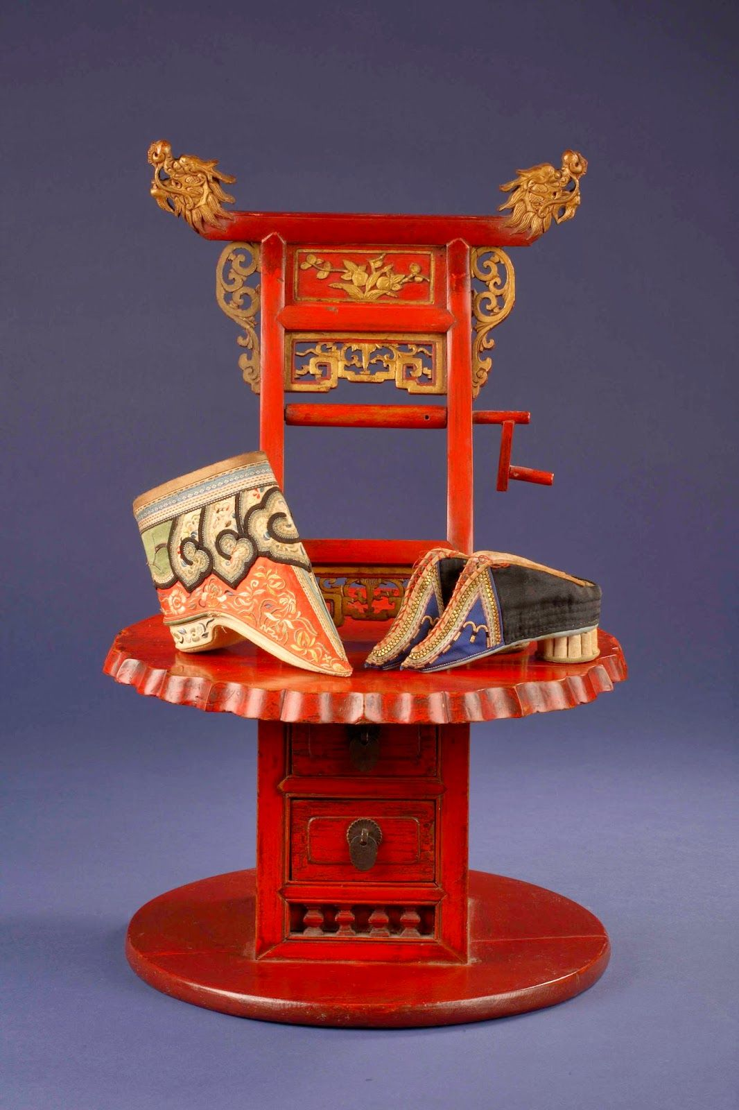 One Wooden Chair For Foot Binding And Two Pairs Of Silk Golden