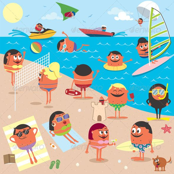 beach cartoon illustrations cartoon and illustrators rh pinterest ie cartoon beach scene clipart cartoon beach scenes images