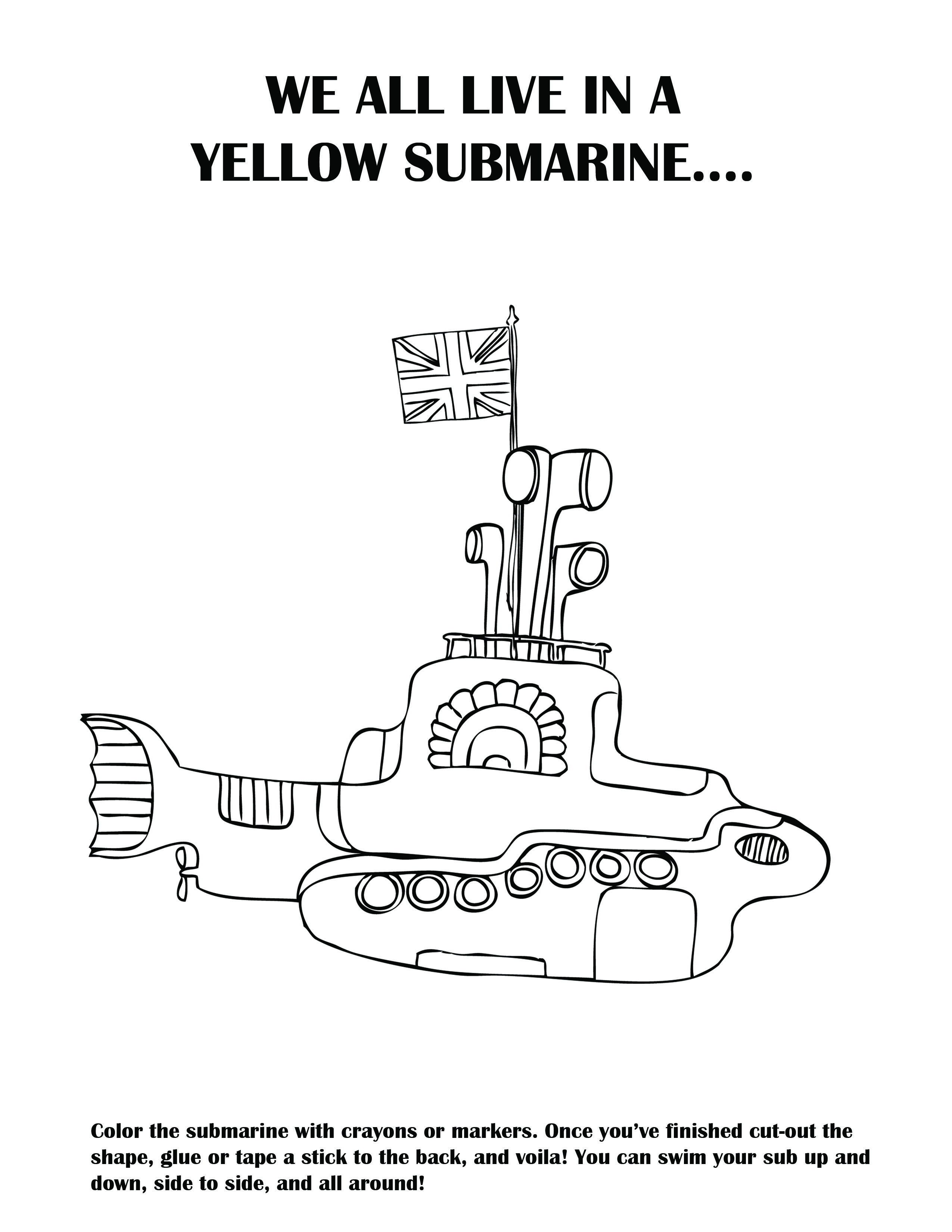 Diy A Yellow Submarine I Made This Activity Sheet For My Nephew S