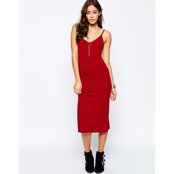 4cd27a2903ccf ASOS Midi Cami Slip Dress in Rib ($29) ❤ liked on Polyvore featuring dresses,  red, slip dress, bodycon midi dress, reds jerseys, red bodycon dress and red  ...